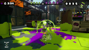 A Splat Charger about to take a Purple victim.