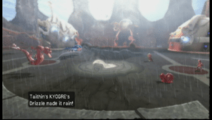 Tathin'sKyogre in Wii game Pokémon Battle Revolution bringing the rain.