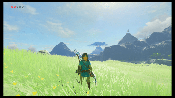Zelda: Breath of the Wild Screenshot, showing Link in a Blue Shirt