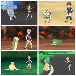 Selection of Alola Photo Club Shots from Pokémon Ultra Sun, showing several members of my Party.