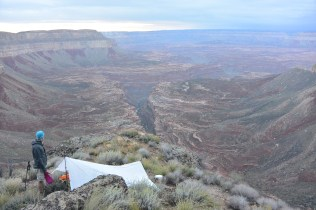 Not a bad place to have a cup of coffee in the morning. Site of our impromptu bivy.