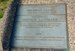 Plaque declaring the Delaware Canal as a National Historic Landmark.