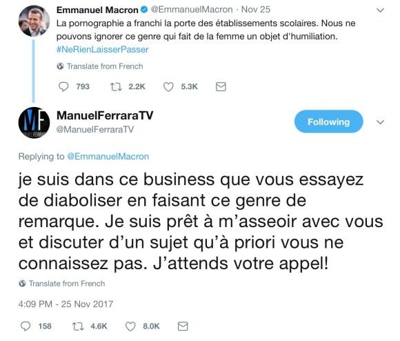 Manuel Ferrara Calls Out Male Feminist French President Macron on Porn