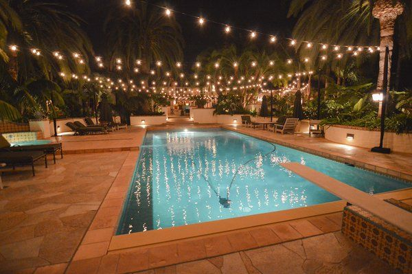 string lights over your swimming pool