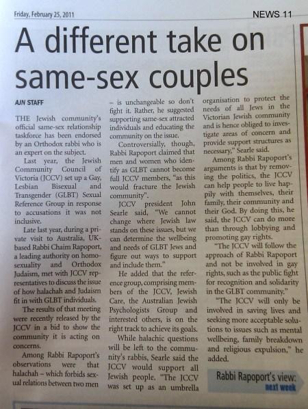 AJN p11 Feb 25 2011: A different take on same-sex couples