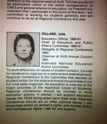 1984 Julia Gillard's student election commitment to support homosexual rights