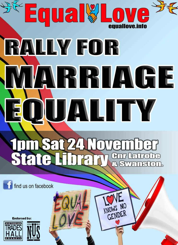 Equal Love Rally for Marriage Equality poster - Nov 24 2012