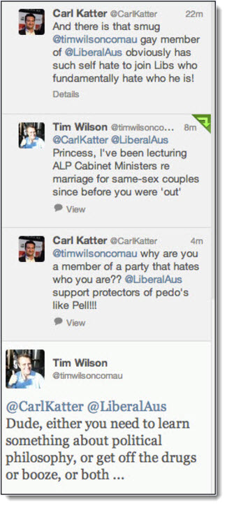 Carl Katter Tim Wilson Twitter exchange