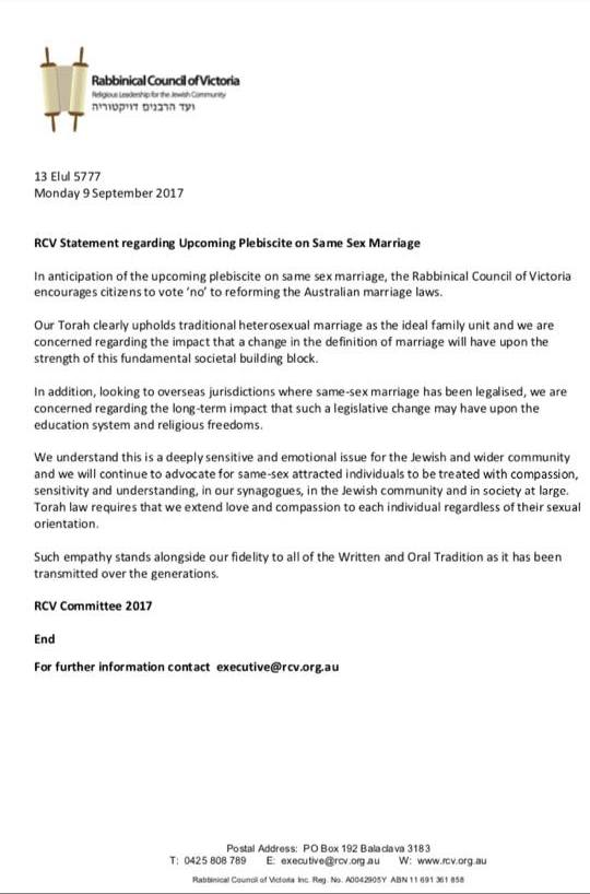 Sep 4 2017 - RCV statement supporting No vote on marriage equality postal survey