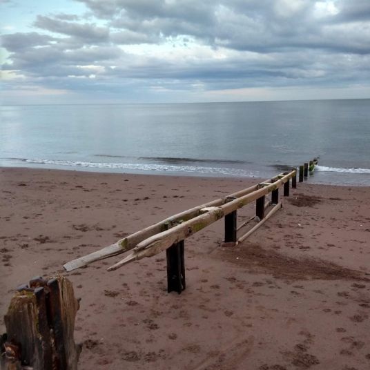 A groyne, designed to slow the shifting sands