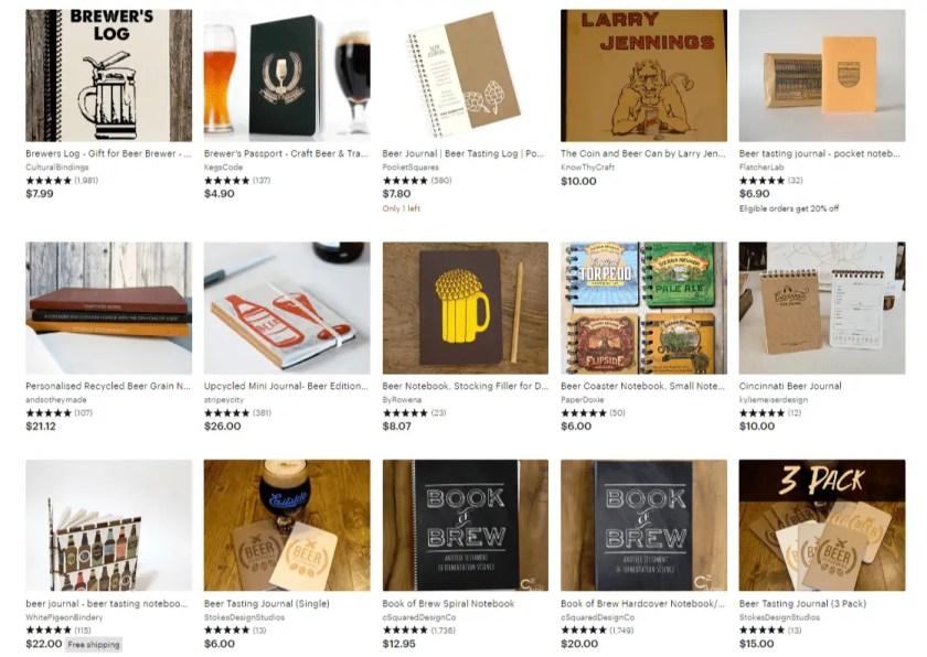 Etsy beer journals