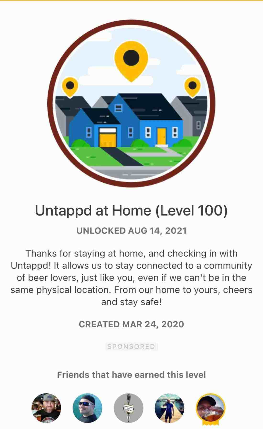 At Home Level 100 Badge from Untappd