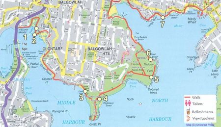 Mapa da trilha de Spit Bridge a Manly por Creative Spirit