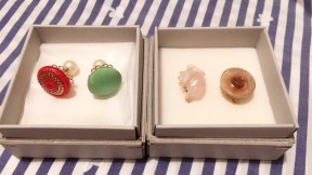 Handmade ear accessories made of vintage buttons