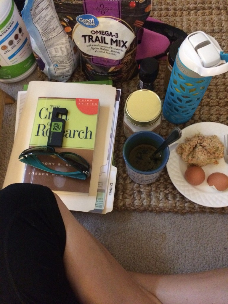 Current favorites - protein powder, omega3 trail mix, the craft of research and other goodies