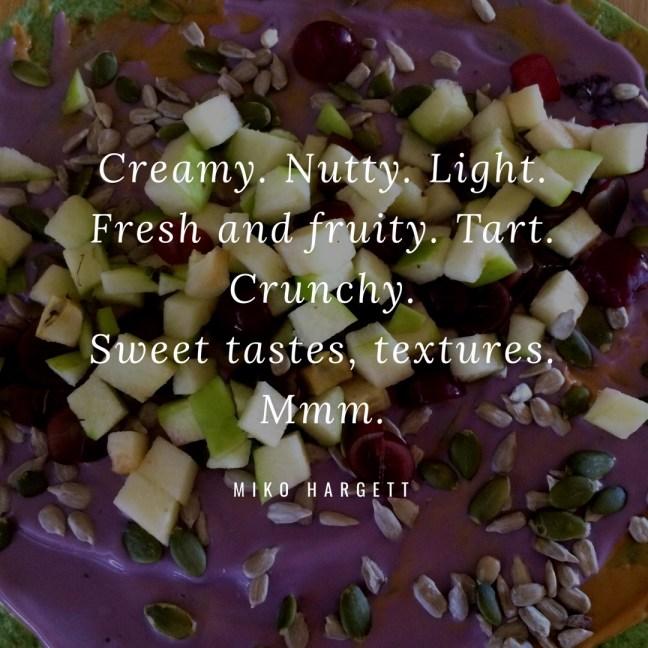 Image of open fruit wrap with nuts, nut butter, vegan yogurt