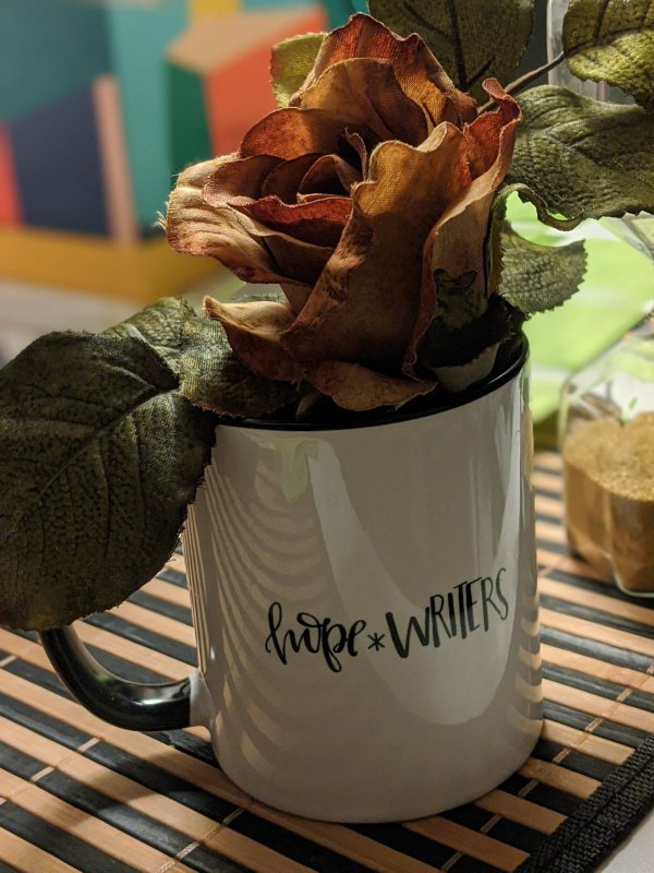 hope*writer mug with golden rose flat lay photography miko hargett
