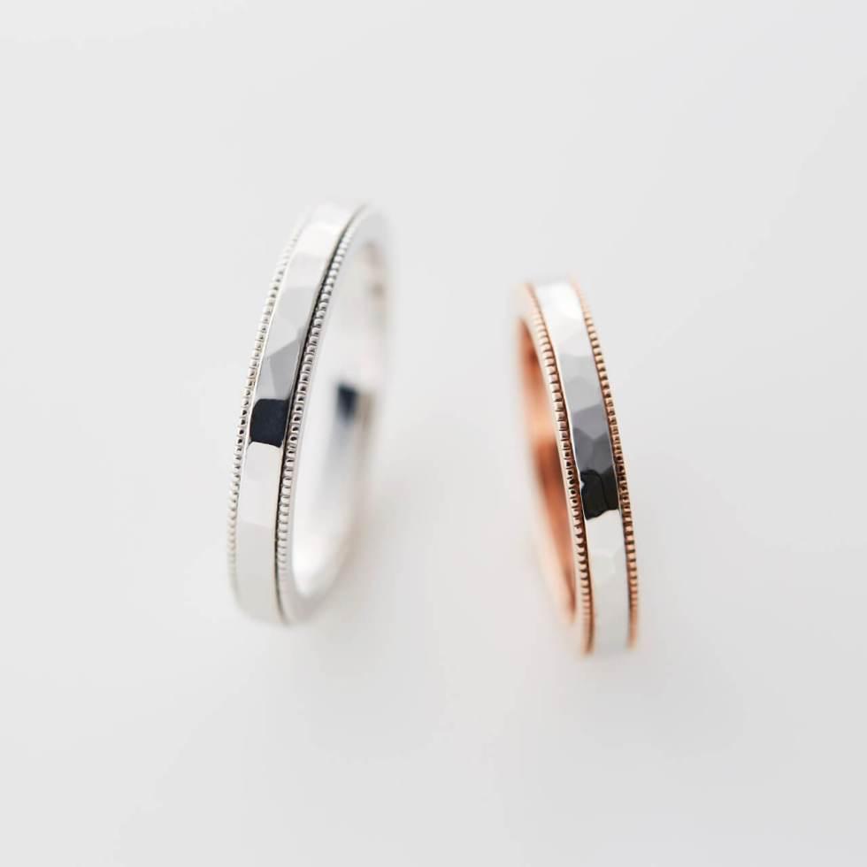 ミル打ちと鎚目の結婚指輪