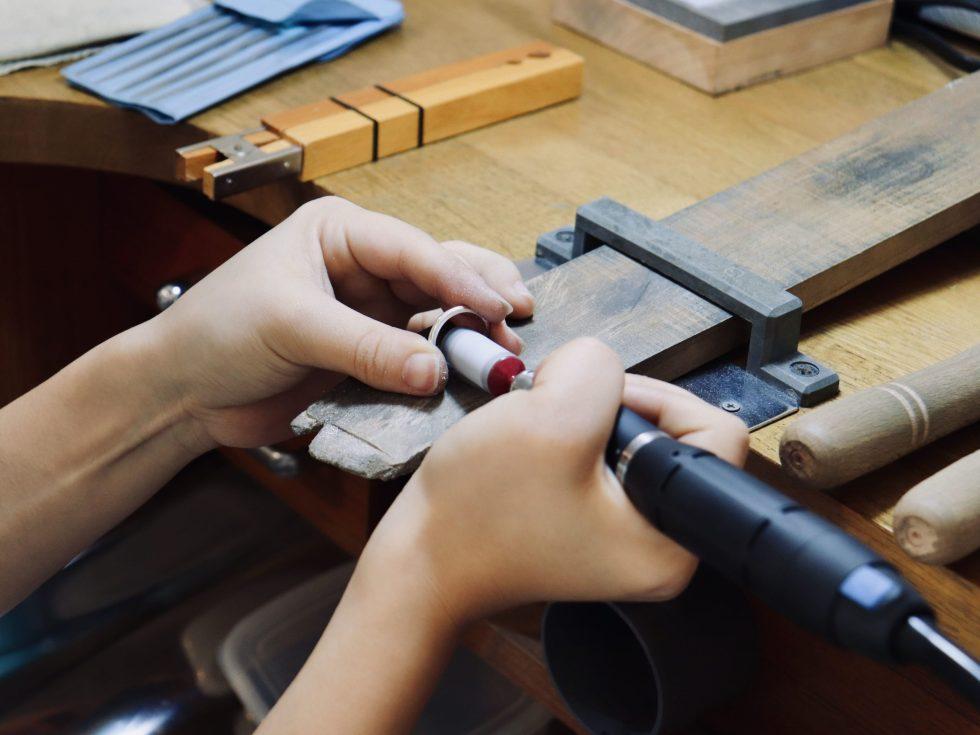結婚指輪のサイズ調整の制作