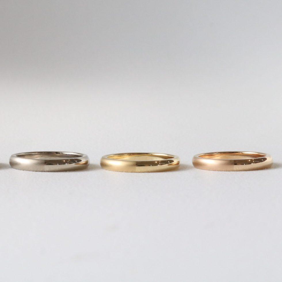 イエローゴールド、ホワイトゴールド、ピンクゴールドの結婚指輪