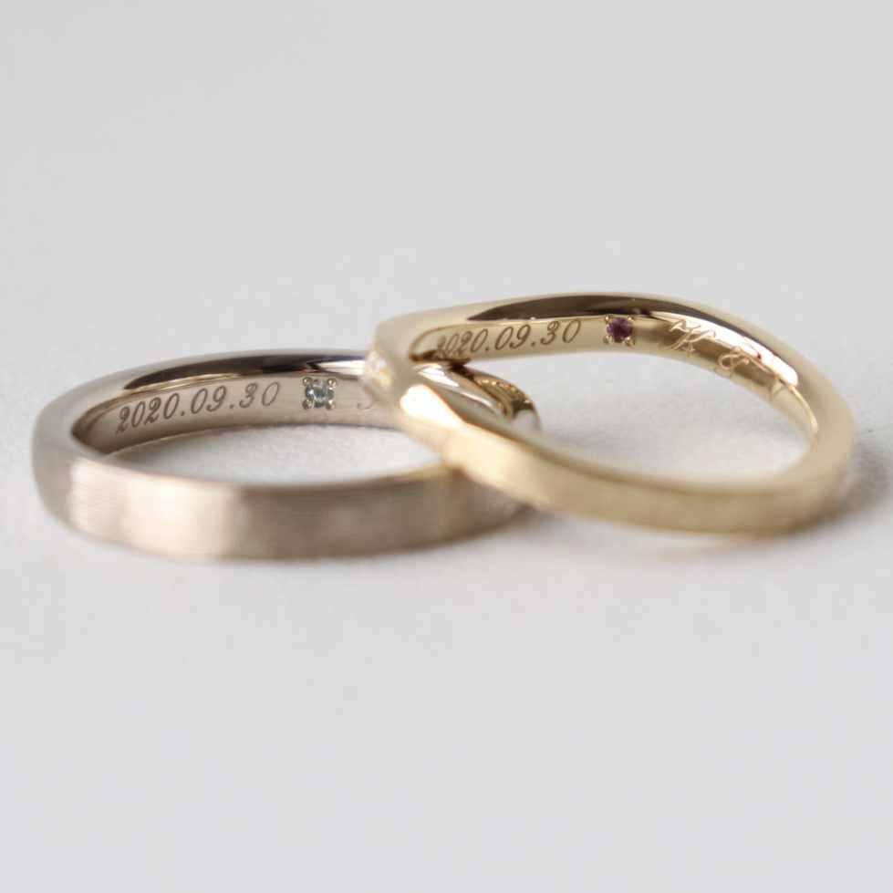 アメシストをあしらった結婚指輪