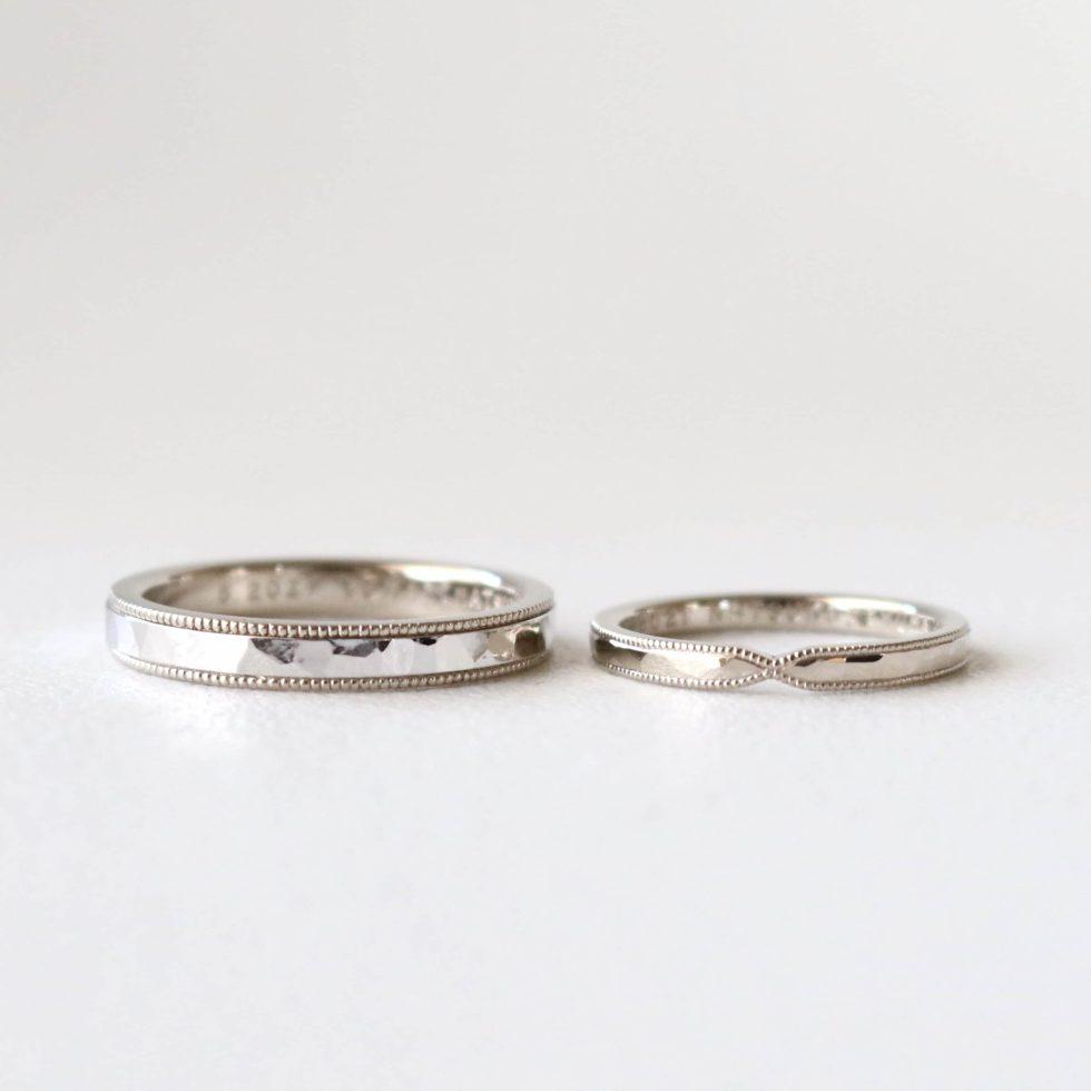 ミルグレンを施したホワイトゴールドの結婚指輪