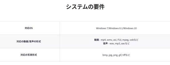 対応OS: Windows 7/Windows 8.1/Windows 10<br>対応の動画形式: mp4, wmv, avi, FLV, mpeg, vobなど<br>音声の形式 wav, mp3, aacなど<br>対応の写真形式: bmp, jpg, png, gif, tiffなど