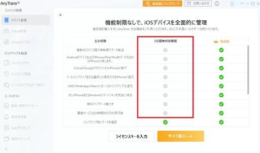 AnyTransは無料体験版と製品版の2種類があり無料体験版では機能に制限があります。