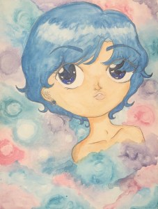 Sailor Mercury Watercolor Portrait