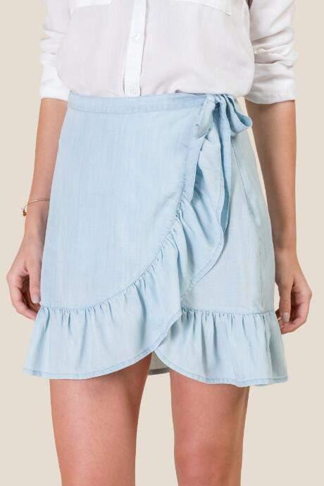 Meredith Ruffled Wrap Skirt