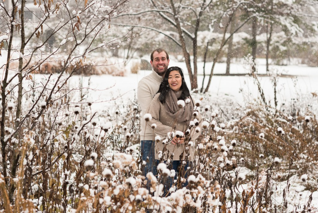 An engagement session for an engaged couple at Fabyan Forest Preserve in the winter by a wedding photographer Mila Craila Photography