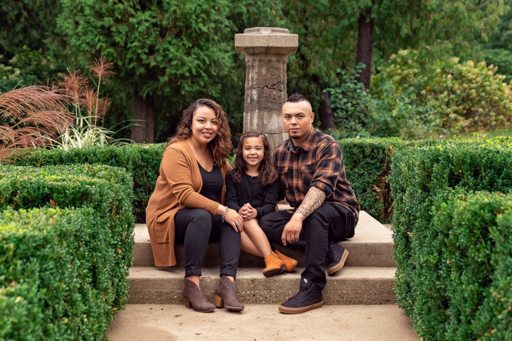 Family session for parents and a young daughter at Fabyan Forest Preserve in Geneva by family photographer Mila Craila Photography