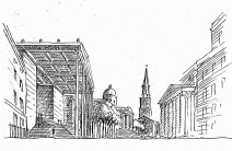 This Pall Mall perspective shows the aluminium portico and entablature sheltering the vast perron of the proposed Sainsbury Wing. In this sketch of the pedestrianised National Gallery Esplanade, plane trees screen William Wilkins' meagre wings