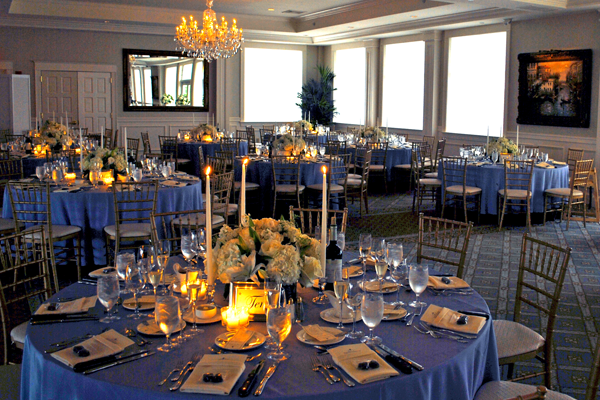 dining room table setting for Key West wedding