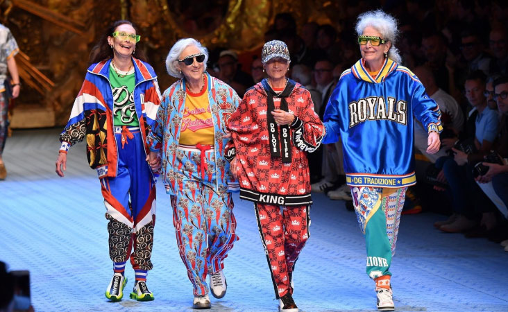 The Italian brand's show featured models of varying ages CREDIT: GETTY IMAGES EUROPE