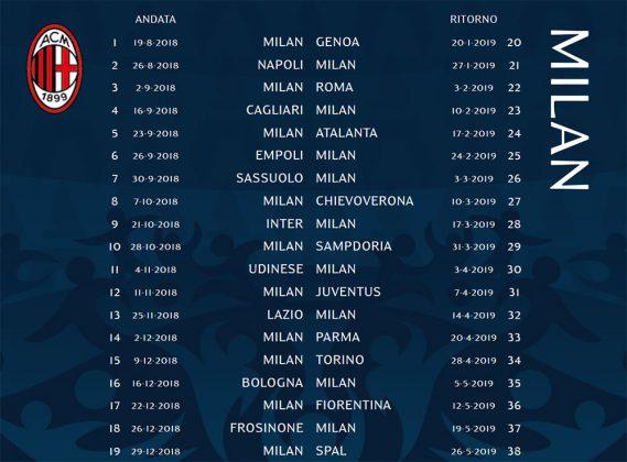 Calendario Serie A Tim 2019.Ac Milan S Serie A Tim
