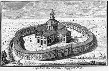 Incisione settecentesca che immortala il complesso della Rotonda della Besana