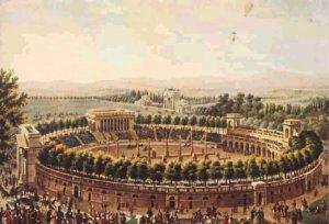 L'arena preparata al decollo di alcuni palloni, nel XIX sec.