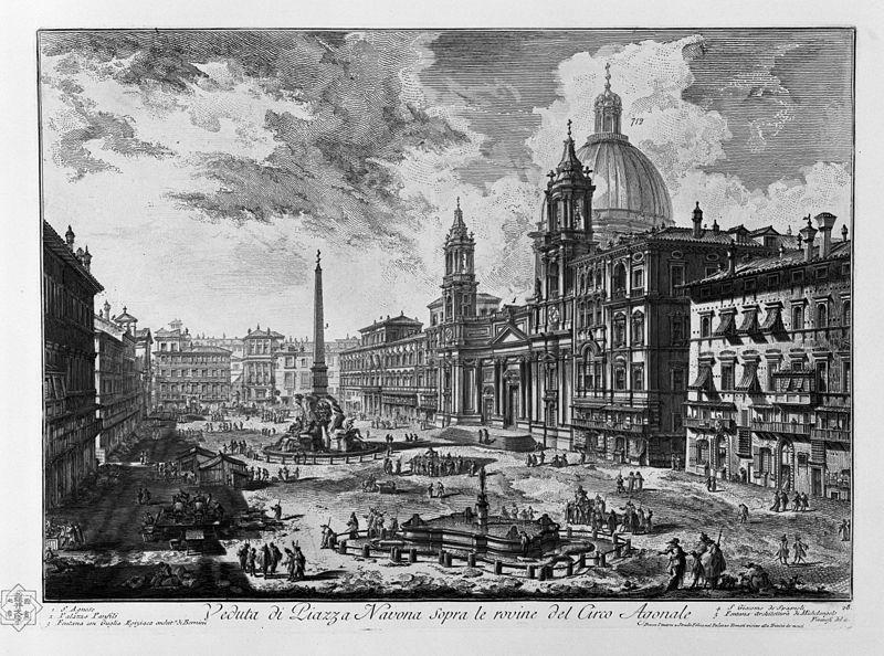 Chiesa di S. Agnese in Agone a Roma, in un incisione di G.B. Piranesi