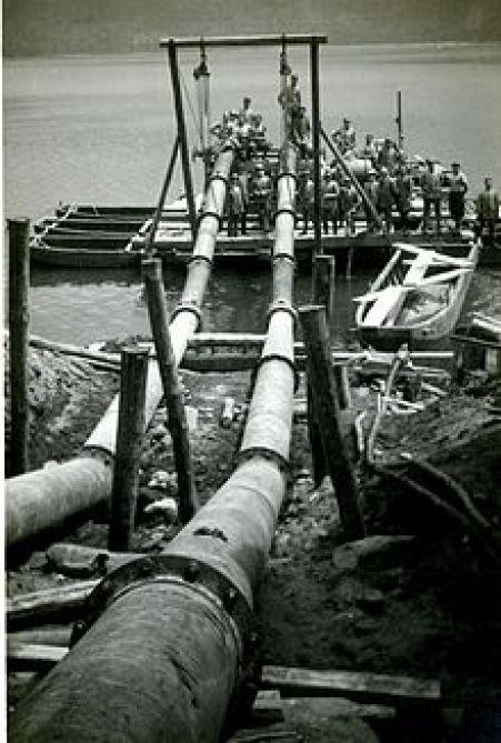 Le elettropompe della Riva Calzoni offerte dall'ing. Ucelli per portare fuori l'acqua dal lago di Nemi per portarla fino al mare laziale