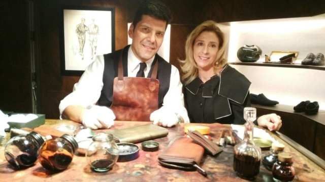 Artisan Gianluca Caminati and Melanie Payge at work