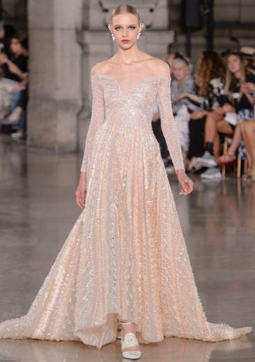 Свадебное платье бежевое цветное Georges Hobeika Haute Couture осень-зима 2017/18