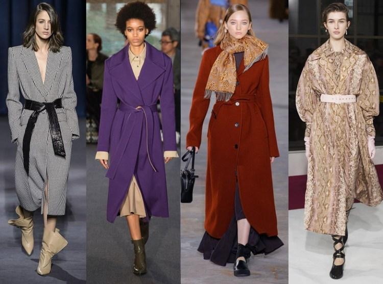 модные пальто с поясом осень 2018