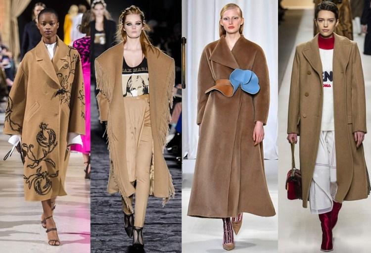 модные пальто бежевые и цвет камел осень 2018