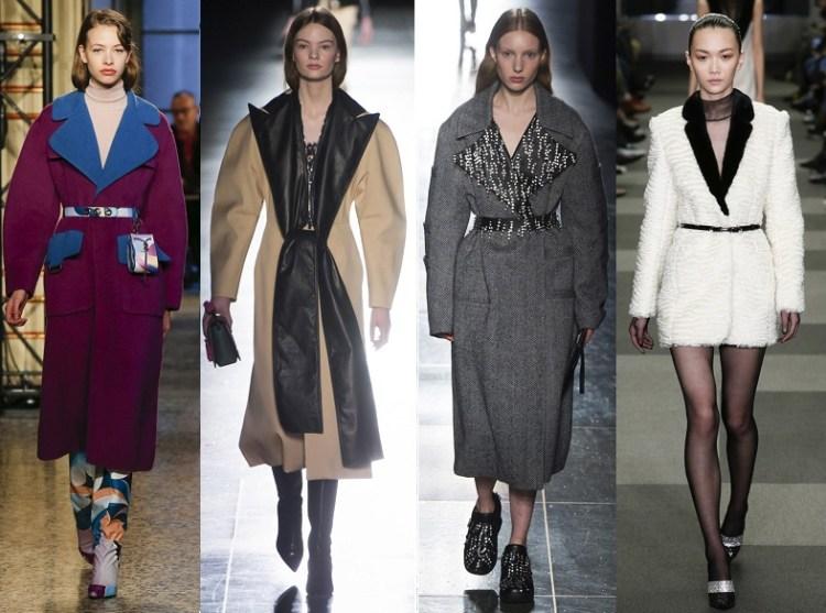 самые модные пальто осени 2018 с контрастным воротником