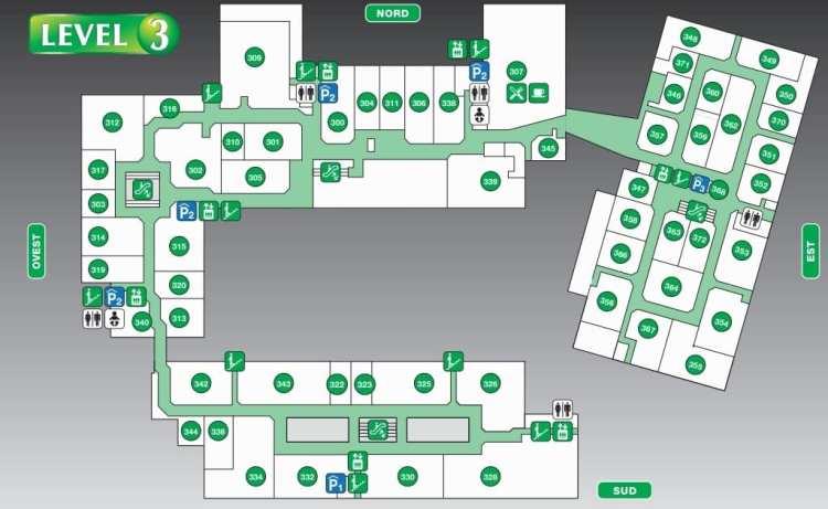 карта аутлета Фокс Таун 3 этаж