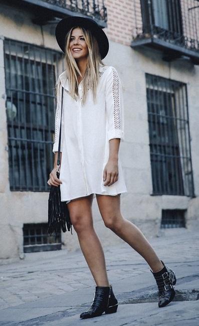 длинная белая рубашка стиль бохо