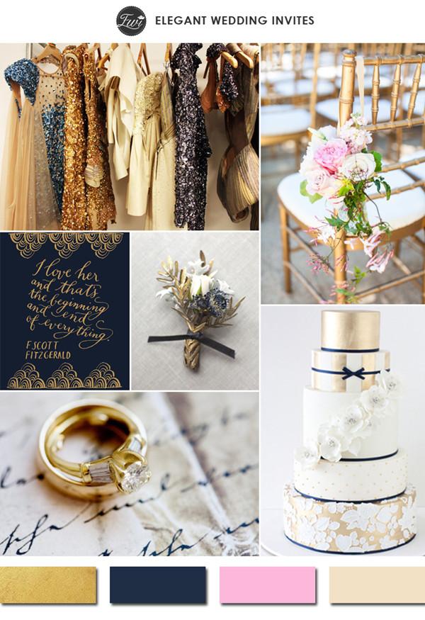 sparkling-gold-navy-blue-and-pink-vintage-wedding-color-ideas-2015-trends