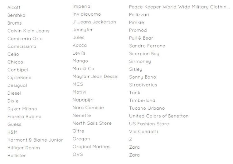 список магазинов в аэропорт Милана Бергамо