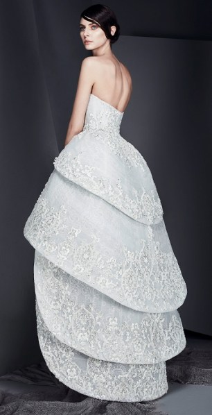 голубое свадебное платье с короткой многоярусной юбкой Ashi Studio 2017